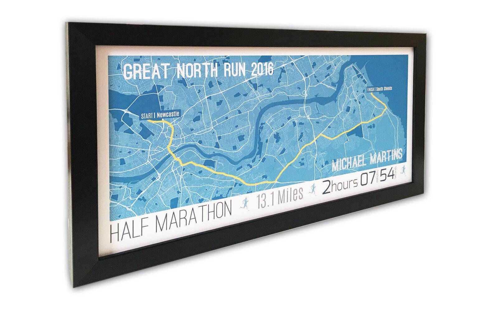 GREAT North Run 2018 incorniciato e mappa personalizzata-regalo personalizzata-regalo personalizzata-regalo per papà, Fratello, Runner 221469