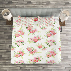 Romantic Buds Flowers Print Nature Quilted Coverlet /& Pillow Shams Set