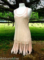 Free People Ifp Blush Coral Pink Sequin Slip Dress Sheer 2 Pc Swingy Hem Xs