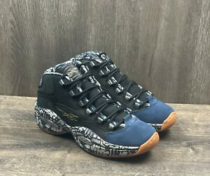 Reebok-Question-Mid-Iverson-Basketball-Men-039-s-Sneakers-Size-9-Navy-Grey-FX4991