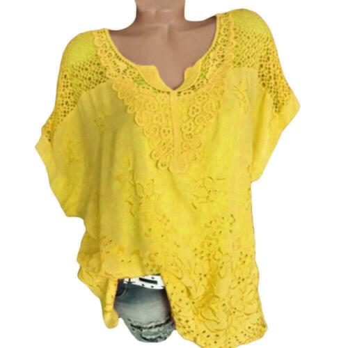 S-6XL Womens V-Neck Short Sleeve Hollow Out Blouse Loose fit Tops Summer T-Shirt