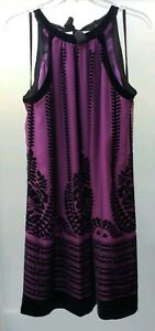 STUDIO-M-158-Purple-Silk-Black-Velvet-Print-Halter-Lined-Shift-Dress-M-New