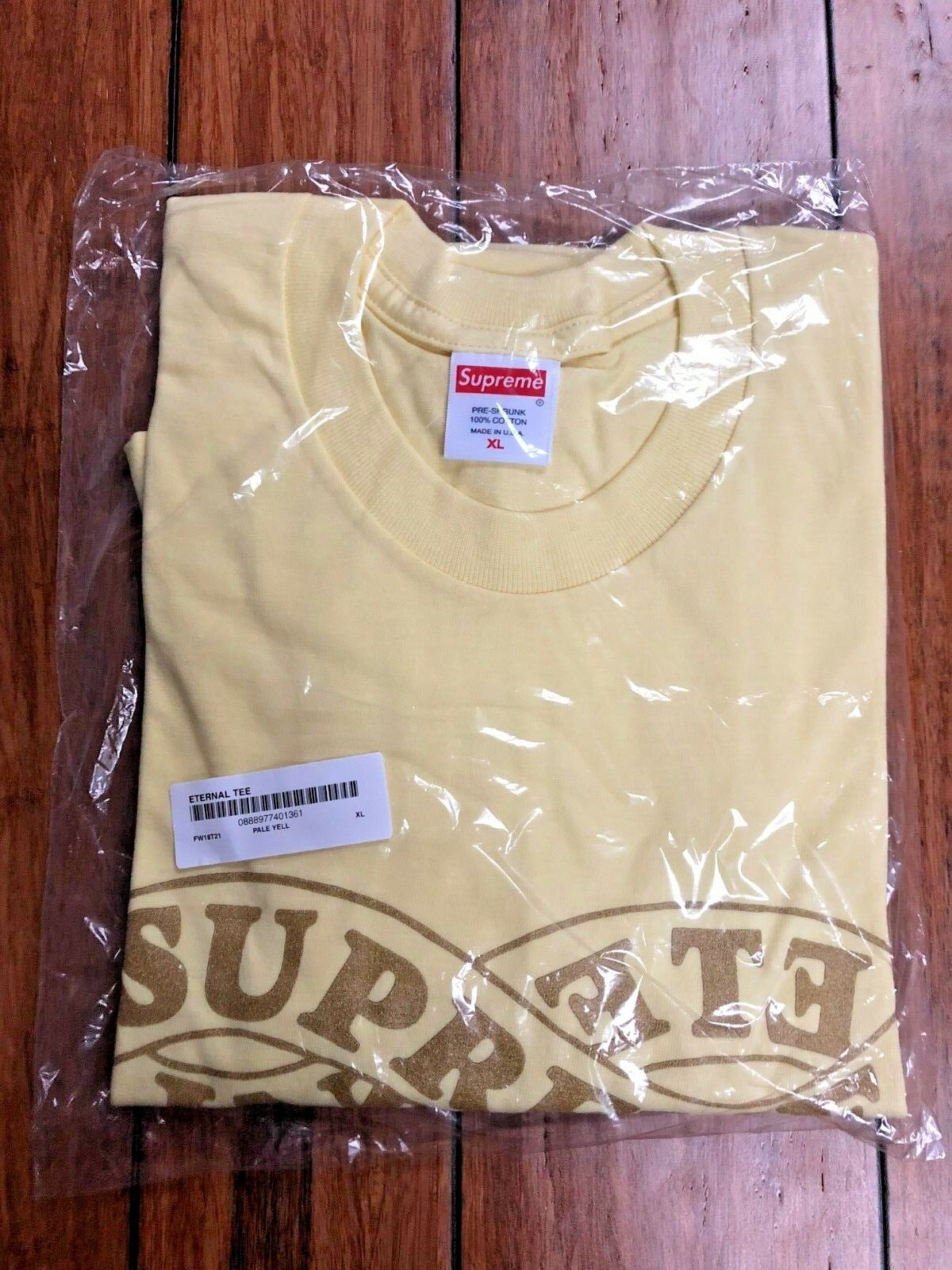 SUPREME FW18 ETERNAL TEE PALE Gelb EXTRA LARGE XL AUTHENTIC NEW IN HAND