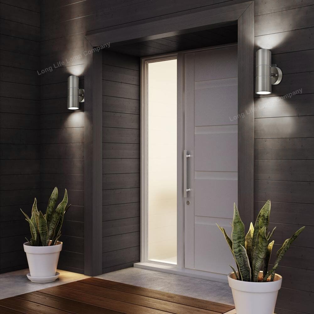 Outdoor Wall Lights Types: Stainless Steel Up Down Wall Light GU10 IP65 Double