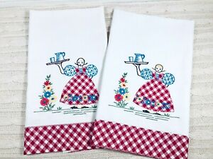 VINTAGE-Hand-Embroidered-Tea-Dish-Towels-Red-Gingham-Country-Girl-Farmhouse