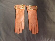 Coach Brown Leather Gloves slim