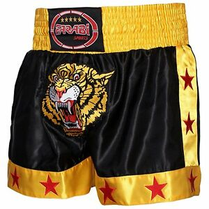 Farabi-Muay-Thai-Kick-Boxing-Training-Satin-Black-Gold-Short-Tiger-Embroidery