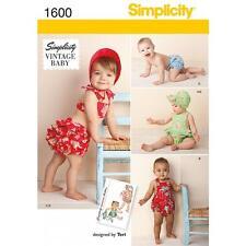 SIMPLICITY SEWING PATTERN VINTAGE BABY ROMPER  PANTIES BONNET XXS - L 1600 SALE
