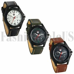 INFANTRY-Mens-Quartz-Wrist-Watch-Analog-Army-Sport-Black-Brown-Green-Leather-US