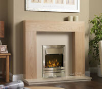 Electric Oak Surround Cream Marble Modern Silver Fire Fireplace Suite Large 54