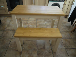 Details About Wooden Farmhouse Kitchen Dining Table And 2 Bench Set 120cm X 80cm