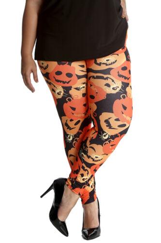 New Ladies Plus Size Leggings Womens Halloween Spider Spooky Pumpkin Nouvelle