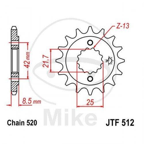 JT Moto Pignon 16 dents Division 520 jtf512.16