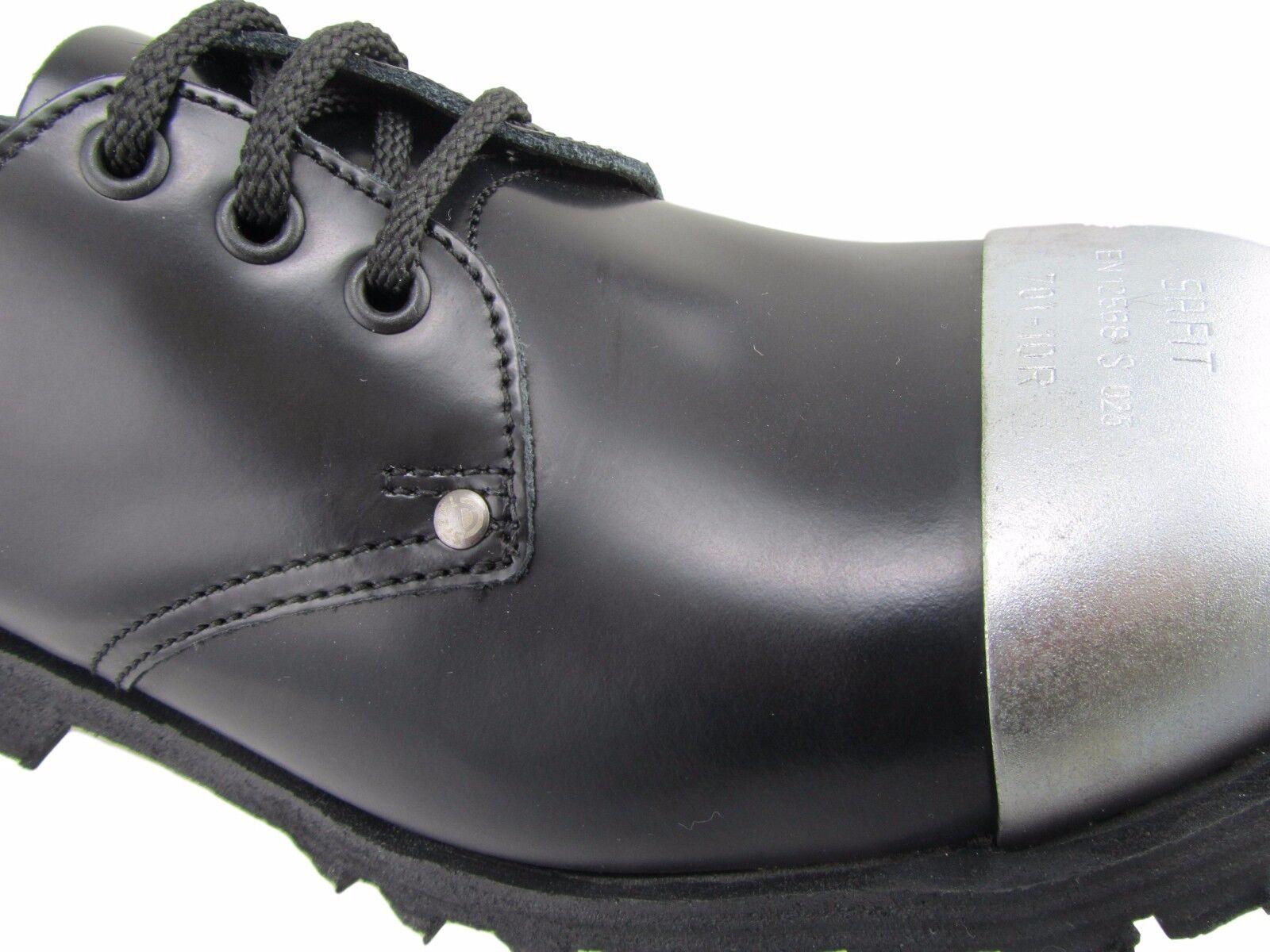 Steel Ground Black Black Black Leather 3 Eyelets Shoes Box Extaernal Safety Cap Shoe 0ebce5