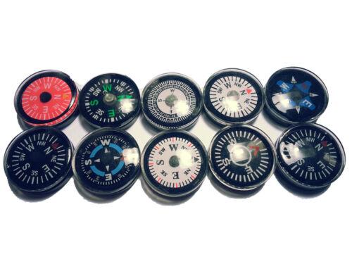 50 Coloré Mini Boussole Compas brujula Bussola appelée 2cm dans 10 variétés