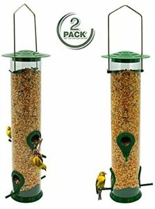 Garden Premium Hard Plastic with Metal Hanger Backyard Weatherproof Classic Tube Hanging Feeders for Finches Bird Seed and More Sorbus Bird Feeder Great for Attracting Birds Outdoors 2 Pack