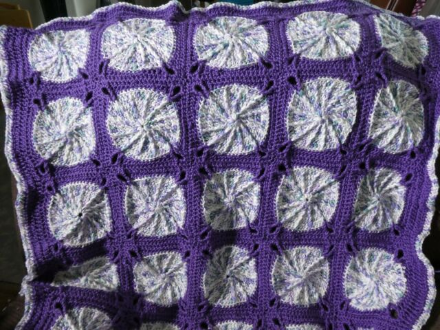New! Handmade Crochet Blanket Lap Throw Afghan - purple, white, pale teal