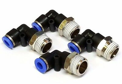 Elbows x4 3/8 npt 1/4 hose Fittings Air Ride tank bags horn bagged connect brass