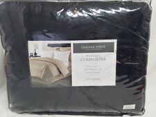 CHARTER CLUB -  Damask Stripe Reversible 500T Black Full/Queen Comforter NDP