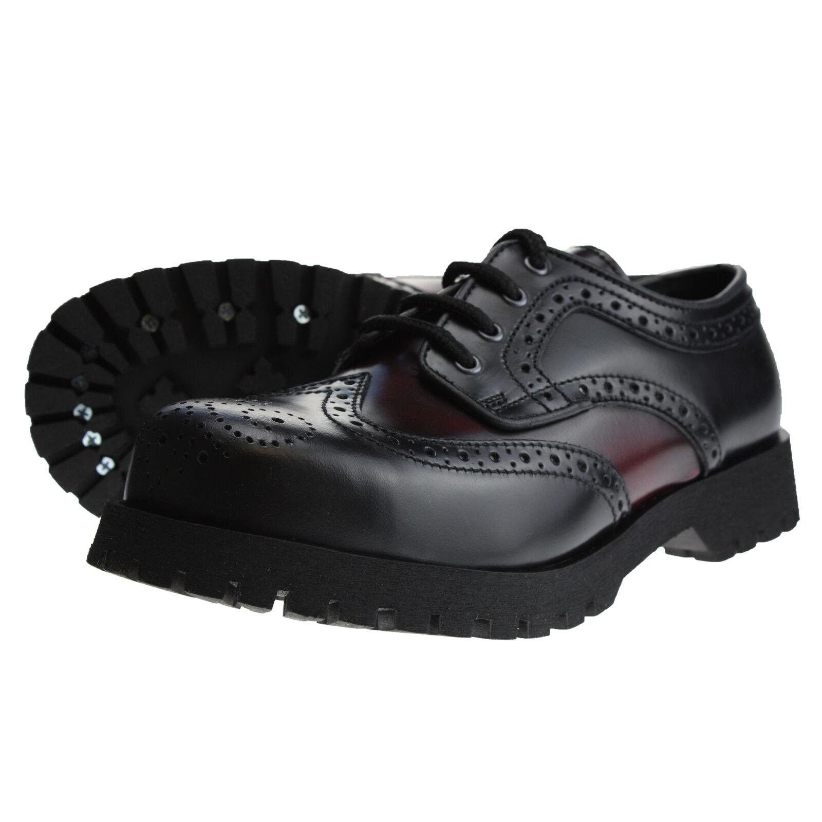 Stiefel and Braces Budapester Schwarz   Burgundy Leder Schuhe 4-Loch Stahlkappe     |  | Eleganter Stil  | Discount