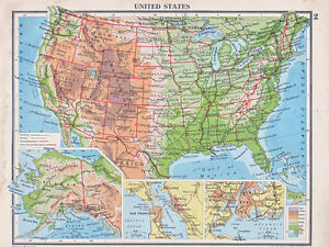 Details about 1941 MAP ~ UNITED STATES AMERICA ~ ALASKA INSET SAN FRANCISCO  NEW YORK TEXAS