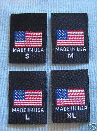 S, M, L, XL MADE IN U.S.A 100 PCS WOVEN CLOTHING LABELS AMERICAN FLAG