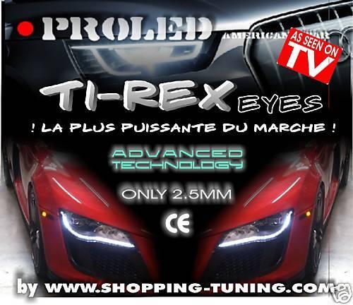 Bande Led FEUX DE JOUR 12V  flexible autocollante strip 2x50CM BLANC Ti-REX