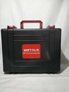 Wetols 12 Lines Laser Level 3 X 360 3D Green Cross Line With Portable Toolbox