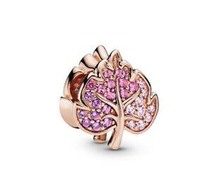 2019-Autumn-925-Sterling-Silver-Bead-Sparkling-Pave-Leaf-Charm-Fit-Charm-Bracele