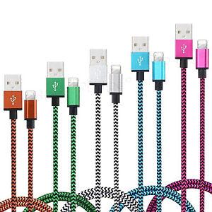 CABLE POUR IPHONE 7 6 5 PLUS IPAD IPOD CHARGEUR USB METAL RENFORCÉ LOT 1M 2M 3M