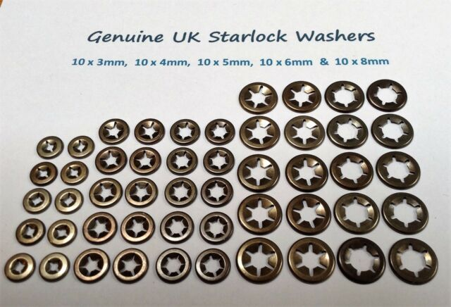 Star Lock Push On Fasteners Locking Speed Clips 10 each of 3mm,4mm,5mm,6mm&8mm