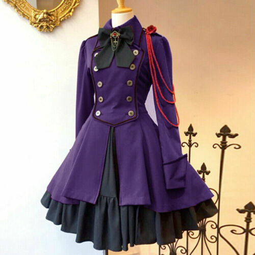 Vintage Gothic Lolita Dress Ruffle Bowtie Button Lace Up Knee Length Sweet Dress