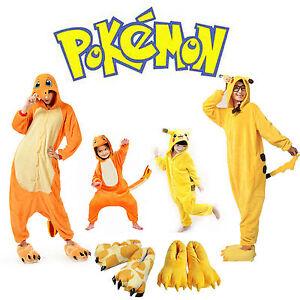Adulto-infantil-pijama-Cosplay-Traje-Kigurumi-POKEMON-PIKACHU-amp-Charmander-MONO