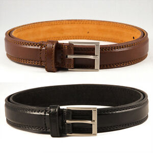 5502b8def0ffa1 Details about MEN'S LEATHER BELT IN BROWN / BLACK TROUSER SUIT BELT MILANO  ALL SIZES SILVER