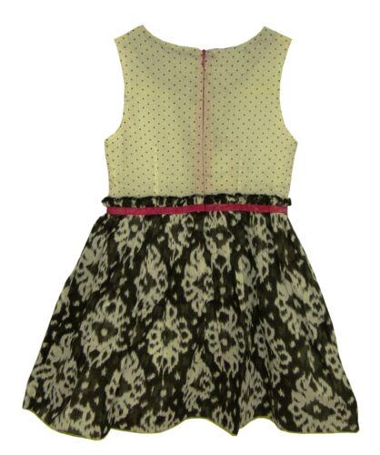 NEW Girls Designer White Black Pink Floral Polka Ruffle Party Dress Age 4 5
