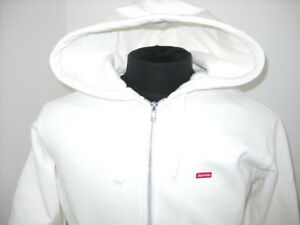 f63c125b56d8 SUPREME SMALL BOX LOGO ZIP UP SWEATSHIRT White 2017 SOLD OUT DROP ...