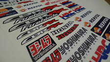 Honda CBR HRC Repsol motorbike racing decals set, A4 sheet 30 fairing stickers