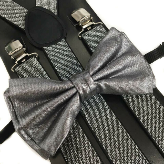 3c92f2c6459 Frequently bought together. Metallic Bow Tie   Glitter Suspender Set Tuxedo  Wedding Formal Mens Accessories