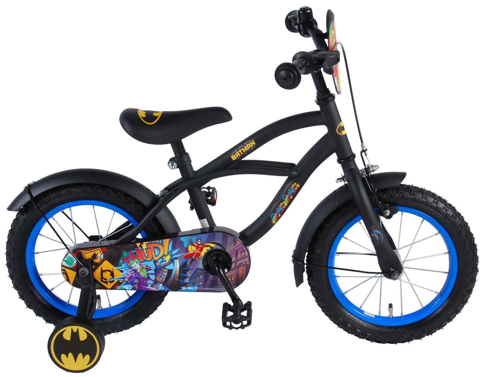 Batman Fahrrad 14 Zoll schwarz matt Kinderfahrrad mit Stützrädern Jungen ab 3