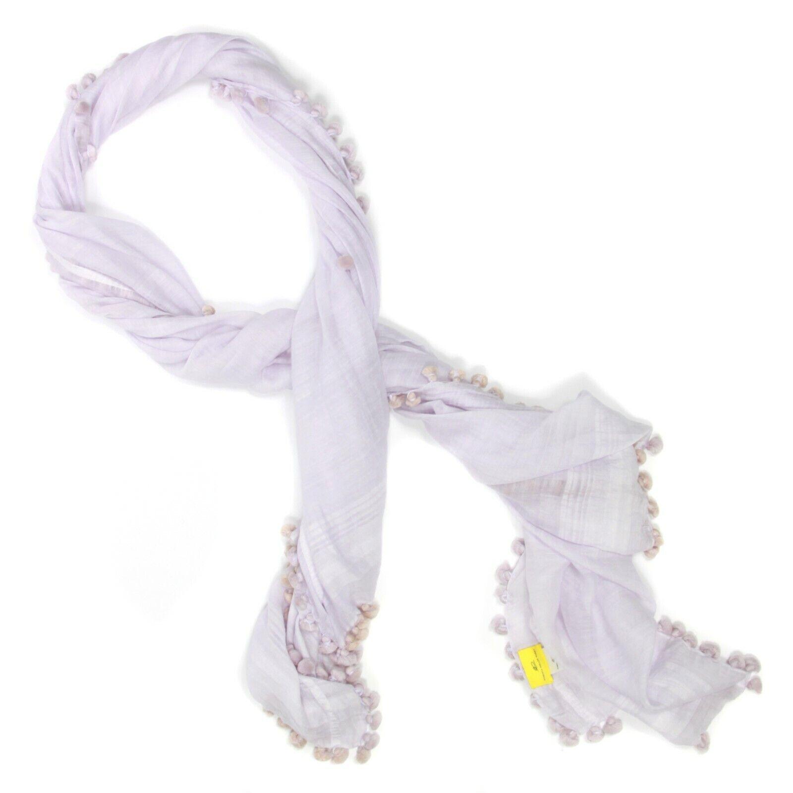 Roberta Roller Rabbit Lovely Lavender Sheer Scarf Wrap with Pom Pom Trim - 951