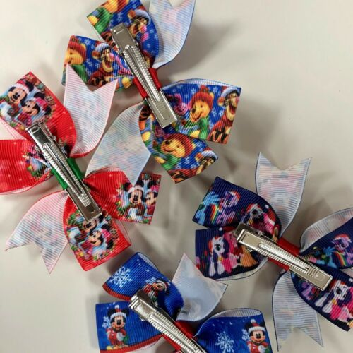 Minnie//Mickey//Winnie//Little Pony Christmas Character Hair Bows//Clips//Accessory