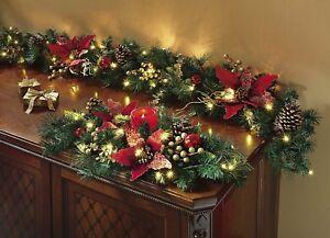 beleuchtete tannengirlande rot girlande weihnachten. Black Bedroom Furniture Sets. Home Design Ideas