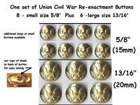 1 Set Of Gold Brass Metal Buttons Reenactment Civil War Dress Union Eagle