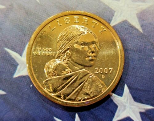 "US Mint Coin /""Brilliant Uncirculated/"" 2007-D Sacagawea Native American Dollar !"