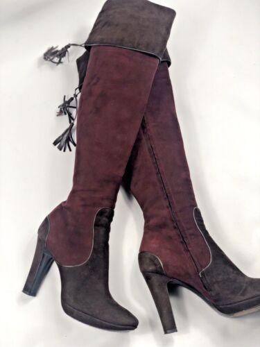 National stile con tacco in ginocchio alto Stivali 6 Uk in il costume taglia sopra 39eu pelle scamosciata qnadnvt