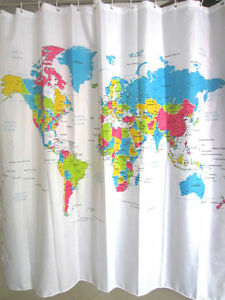 World map colorful design 180 x 180 cm polyester bathroom use image is loading world map colorful design 180 x 180 cm gumiabroncs Gallery
