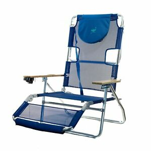 Surprising Details About Ostrich 3 N 1 Lightweight Outdoor Lounge 5 Position Reclining Beach Chair Blue Gamerscity Chair Design For Home Gamerscityorg