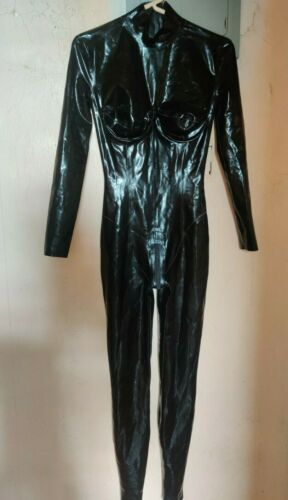Black Latex Catsuit with Underwire Bra cups