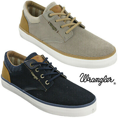 MüHsam Wrangler Mens Casual Leather Trainers Pumps Memory Foam Lightweight Shoes Lace
