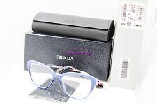 PRADA VPR 28S UFW-1O1 Blue/Silver/Blue Hvna Cateye 52mm RX Eyeglasses NWT AUTH